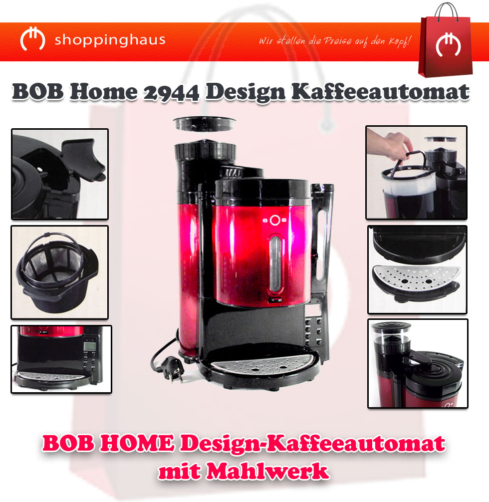 bob home 2944 design kaffeeautomat kaffeemaschine mit. Black Bedroom Furniture Sets. Home Design Ideas