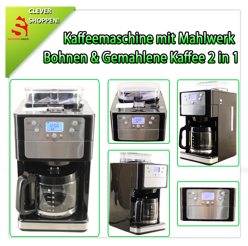 kaffeemaschine mit mahlwerk 2in1 gemahlen bohnen kaffee timer display gebraucht ebay. Black Bedroom Furniture Sets. Home Design Ideas