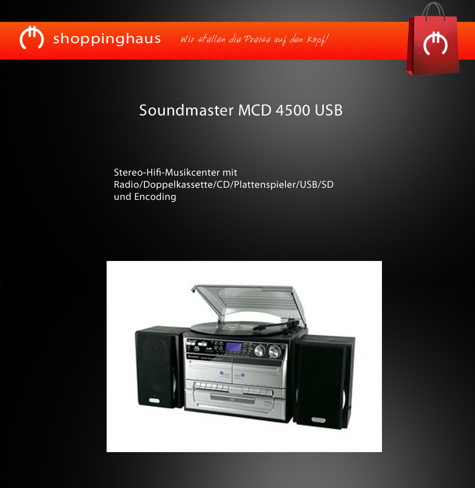 soundmaster mcd4500 usb musik center plattenspieler radio cd usb sd 2 kassette ebay. Black Bedroom Furniture Sets. Home Design Ideas