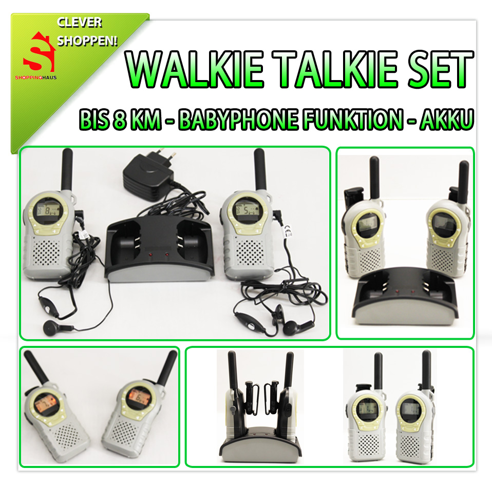 walkie talkie set funkger t babyphone 8 km ctcss cdcss. Black Bedroom Furniture Sets. Home Design Ideas