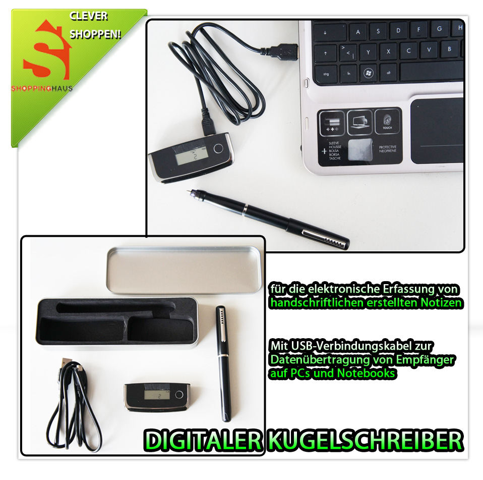 digitaler kugelschreiber usb empf nger m aufladbarer akku stift kabellos bware2 ebay. Black Bedroom Furniture Sets. Home Design Ideas